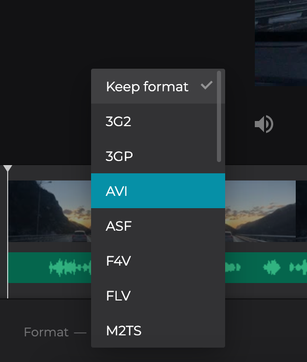 Change the format of the video with added MP3