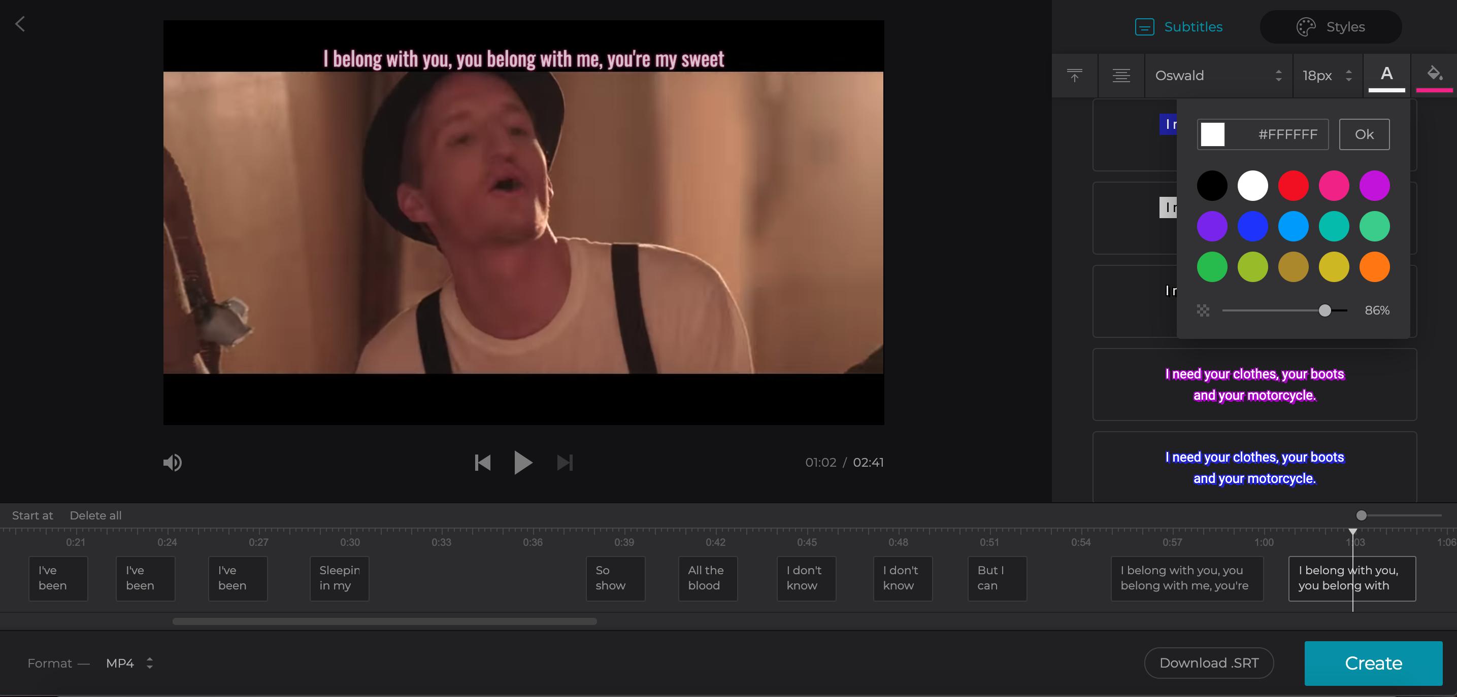 Edit subtitles: change font, color and background