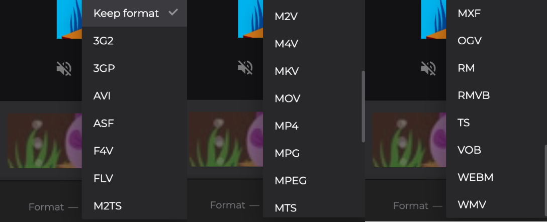 Change the format of your split video
