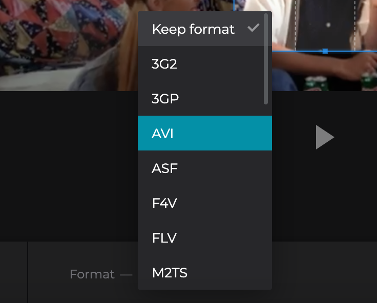 Choose an output format for your cut video