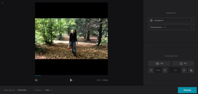 Select Instagram preset for Vimeo video