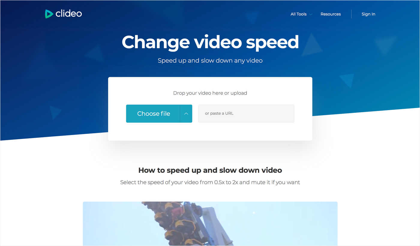 Upload a video clip you want to slow down