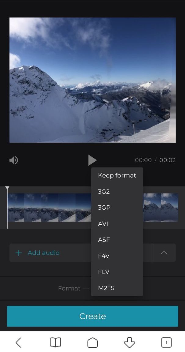 Change the format of Android video with added audio