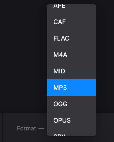 Change format of audio from video on Mac