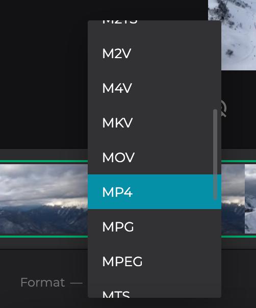 Change format of cut MOV file