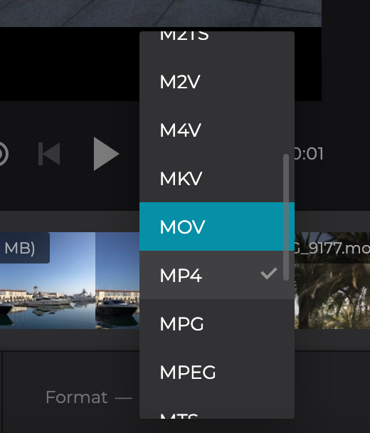 Change format of movie from clips