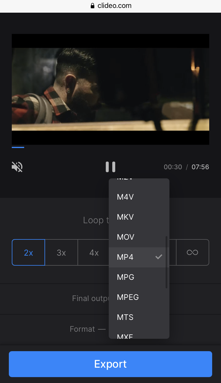 Change format of repeated YouTube video on iPhone