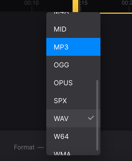 Change format of separated audio
