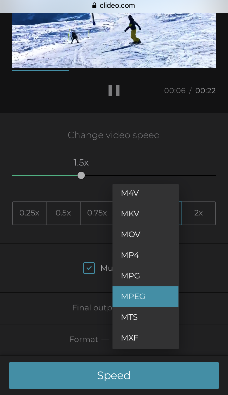 Change the format of the speeded up video on Android