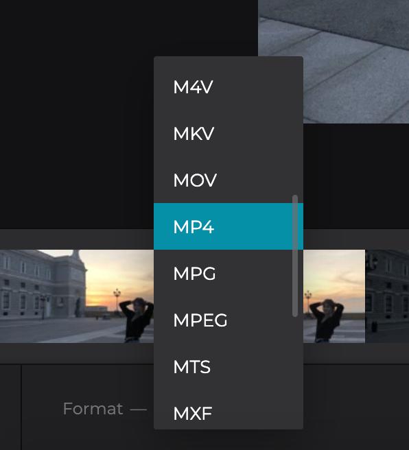 Change format of the split MP4