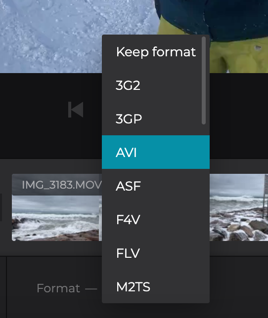 Change format of the video image sequence