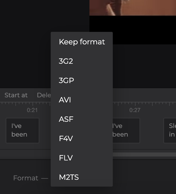 Change format of video with captions