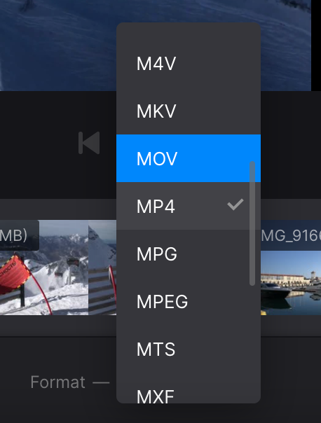 Change format of video with jump cut