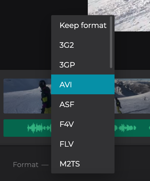 Change format of the YouTube video with added audio