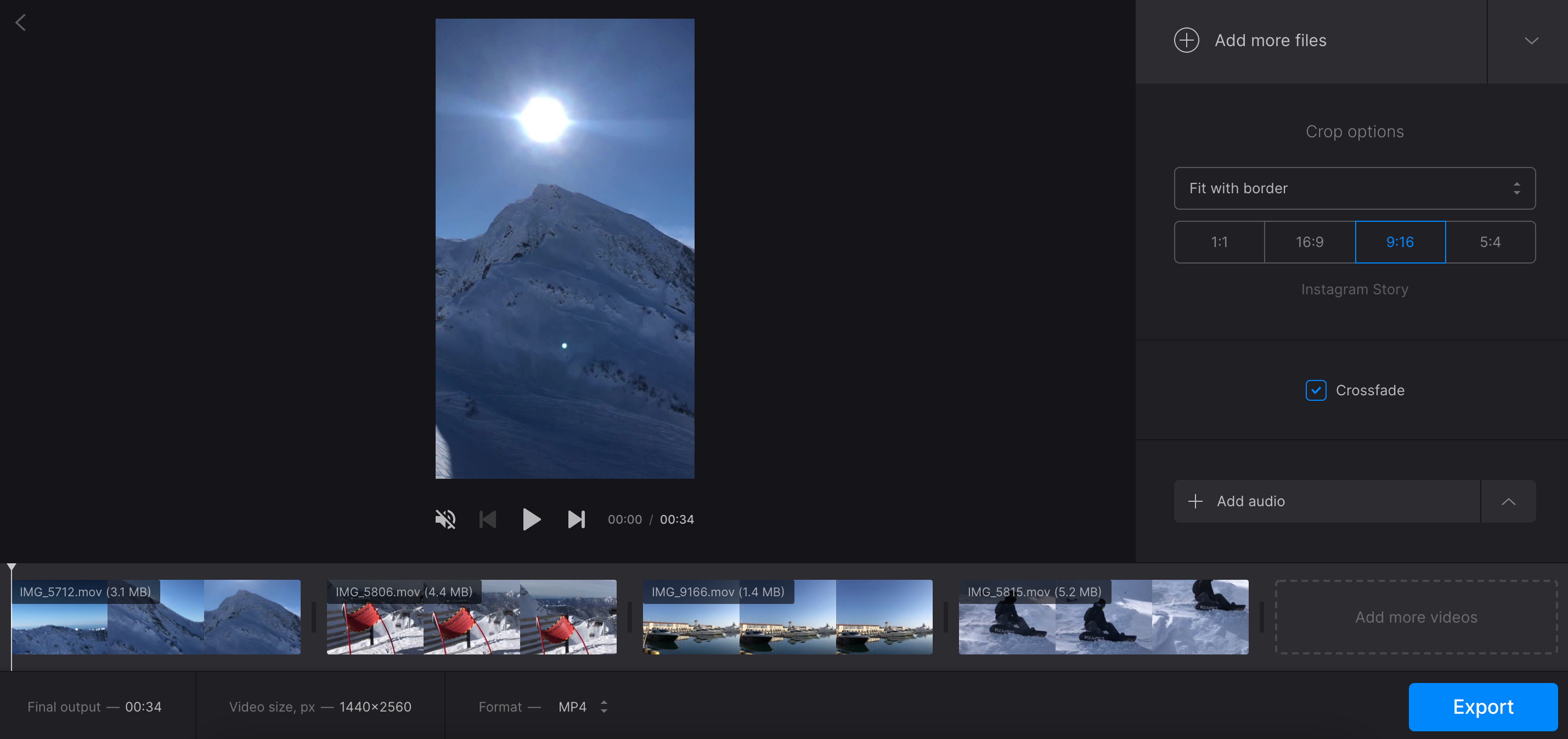 Create jump cut effect with Clideo