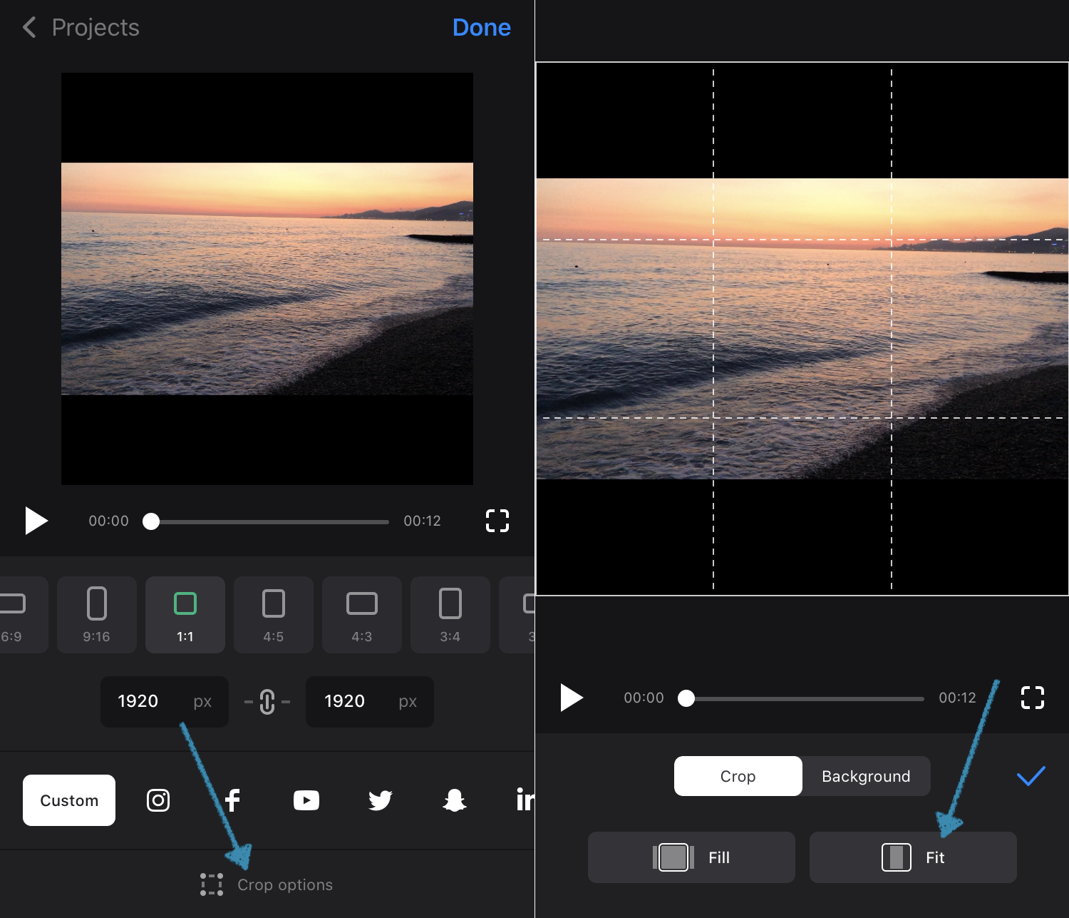 Choose to crop or not crop in the resize video app