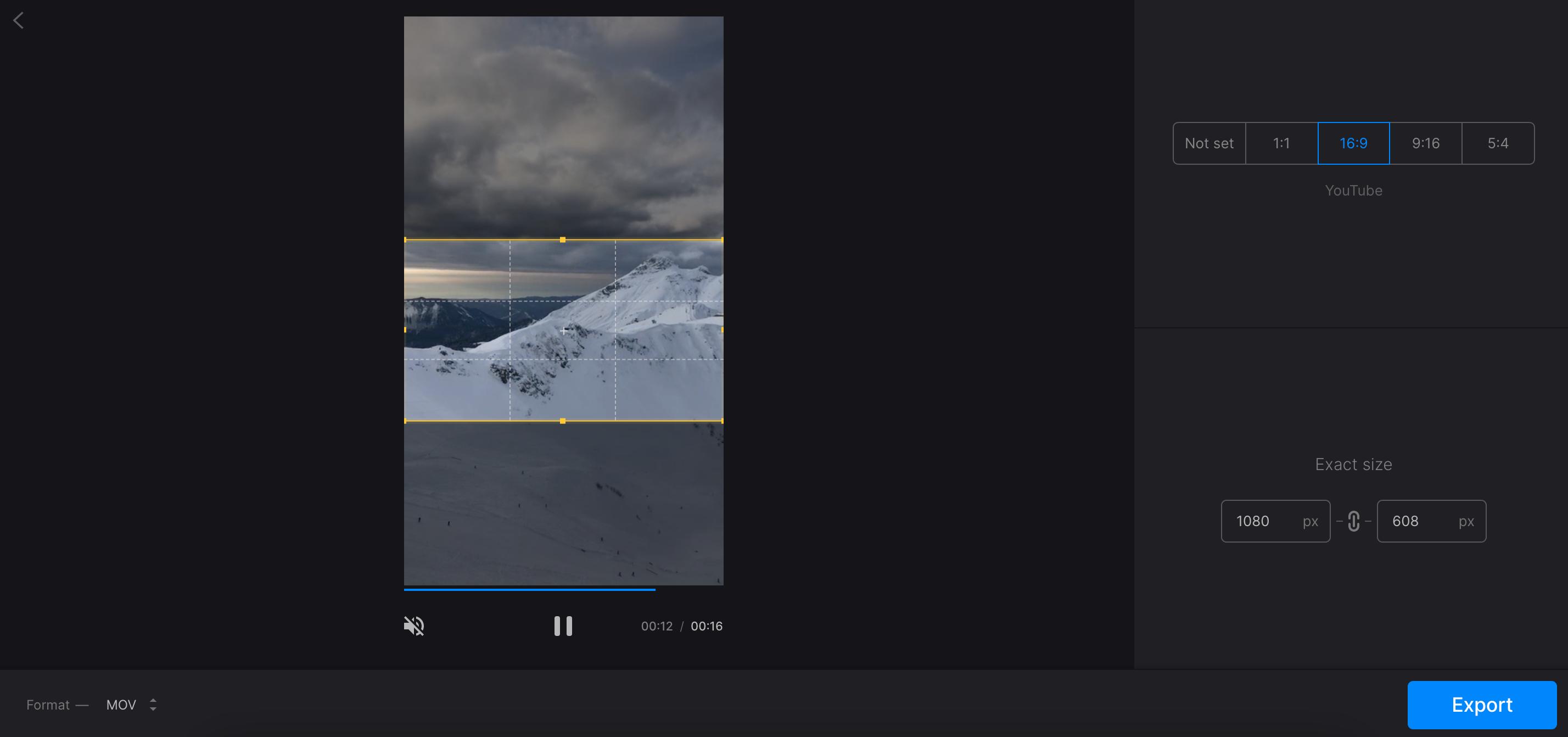 Crop vertical video to make it horizontal