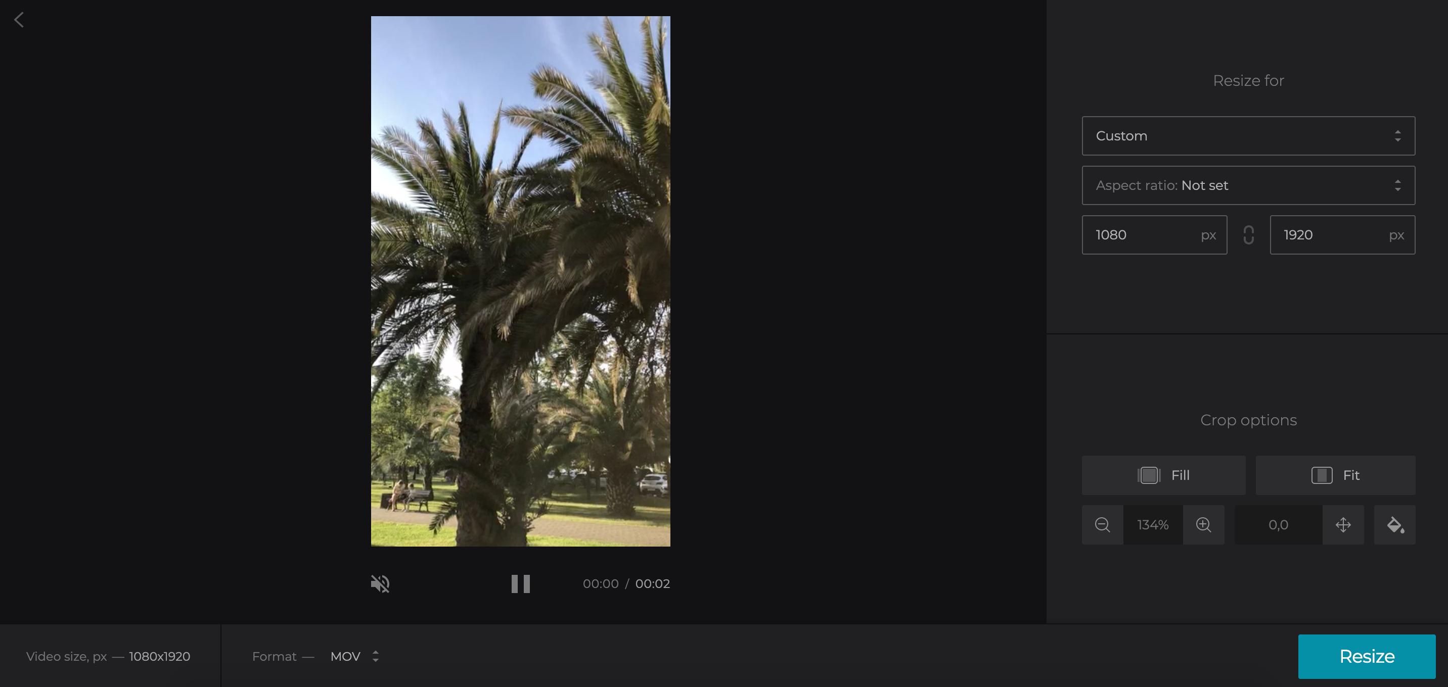 Crop video to fit TikTok size