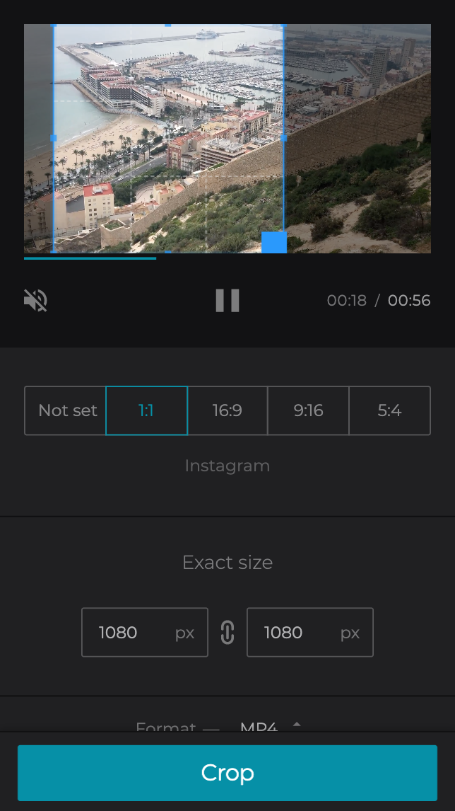 Crop video on Android by moving the selected frame