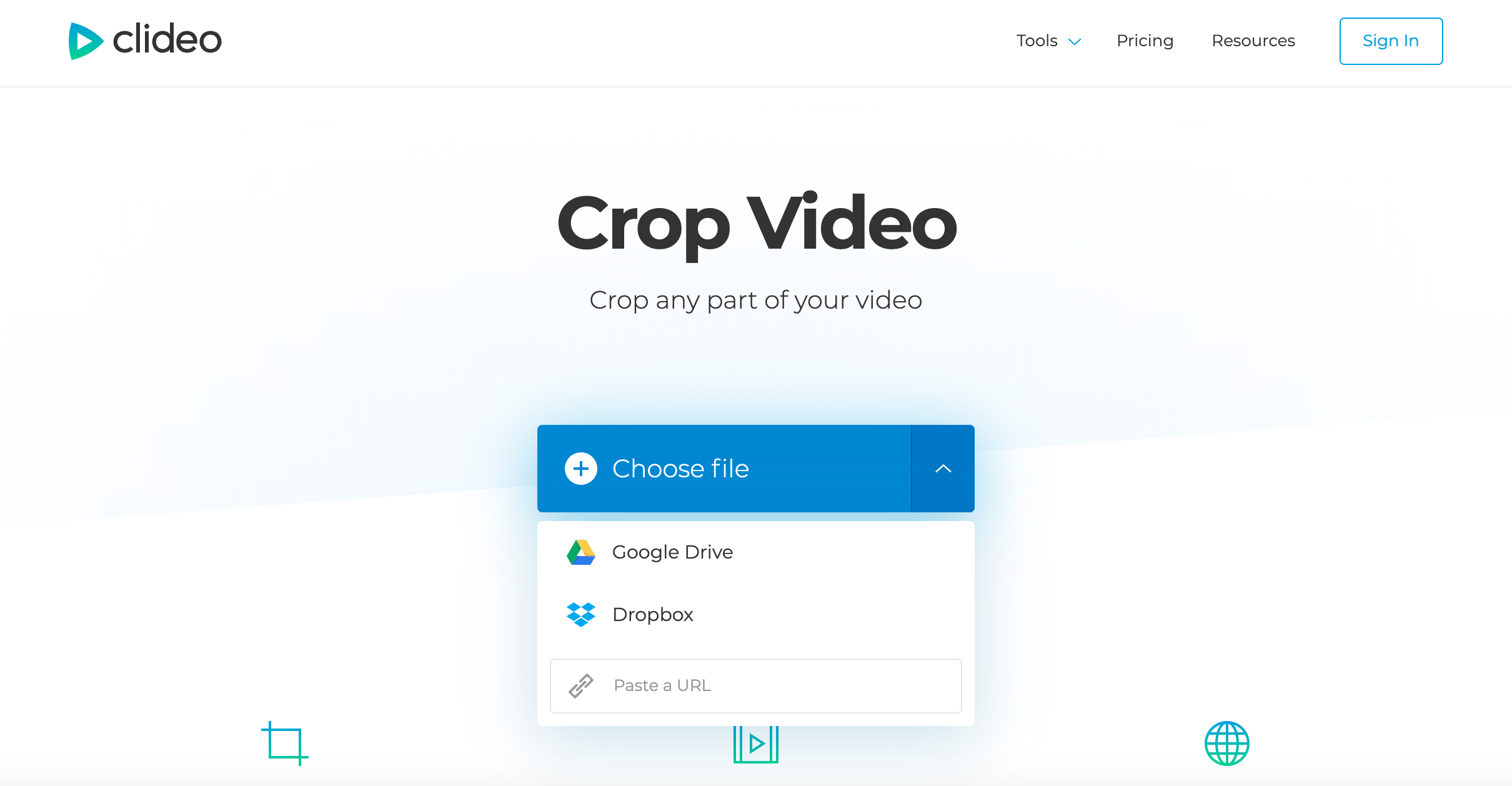 Upload a video to crop to square