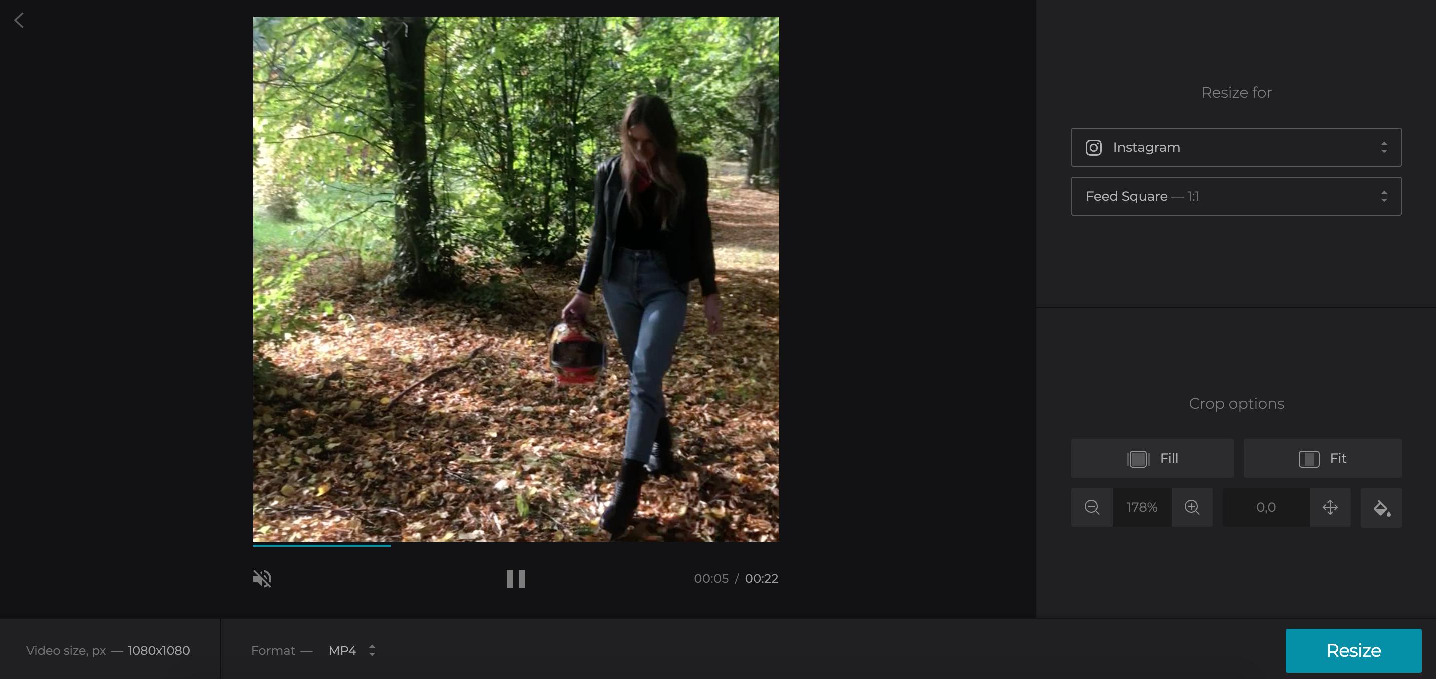 Crop Vimeo video to share on Instagram