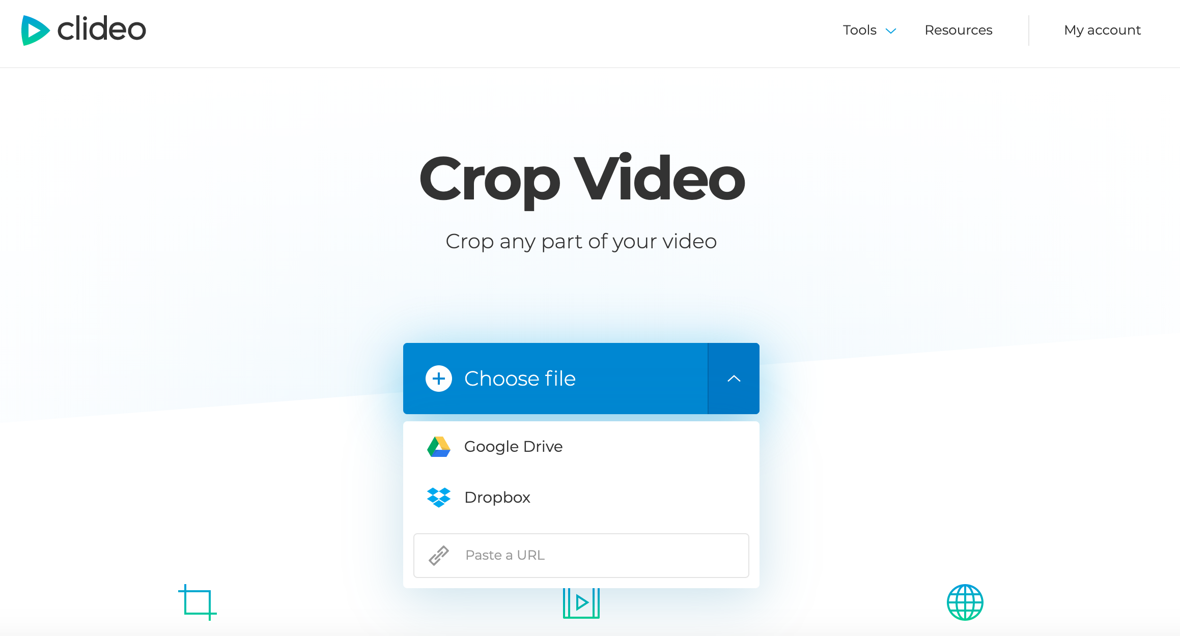 Upload a video you want to crop from YouTube