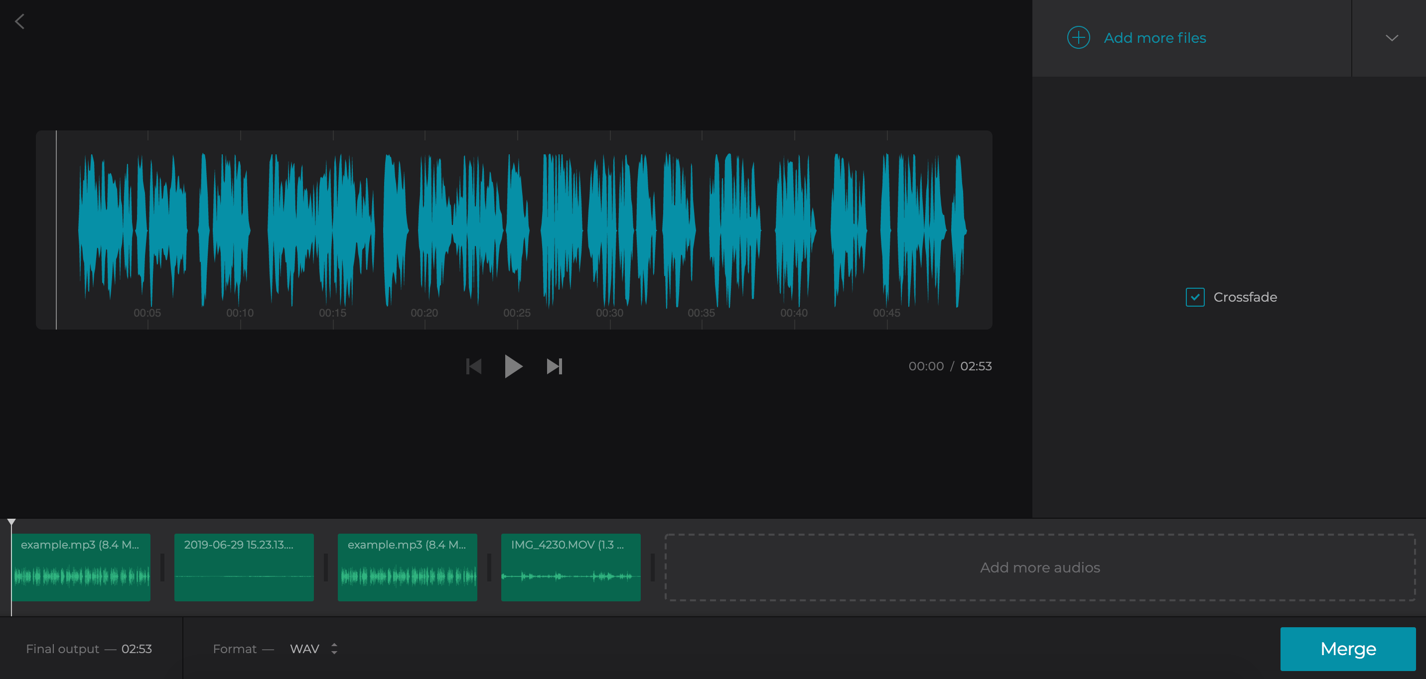 Add a crossfade effect to your joined audio file