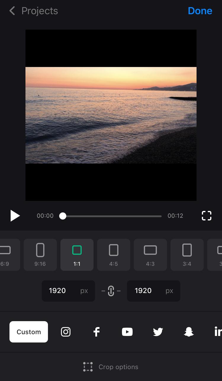 Select Custom option in Instagram resize app