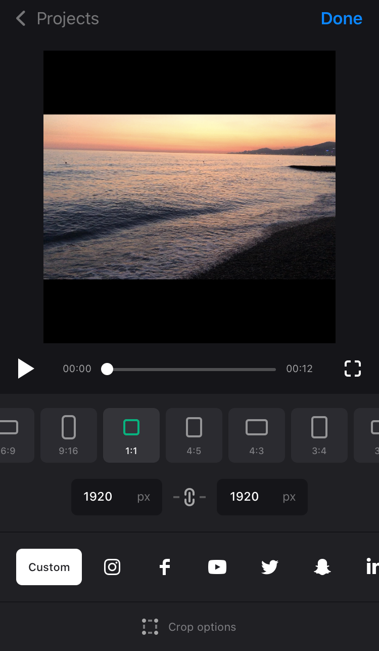 Click on Custom in Cropping Video App