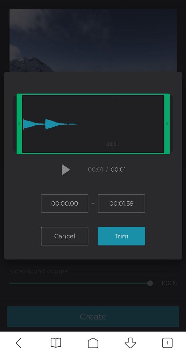 Cut the added audio to fit Android video