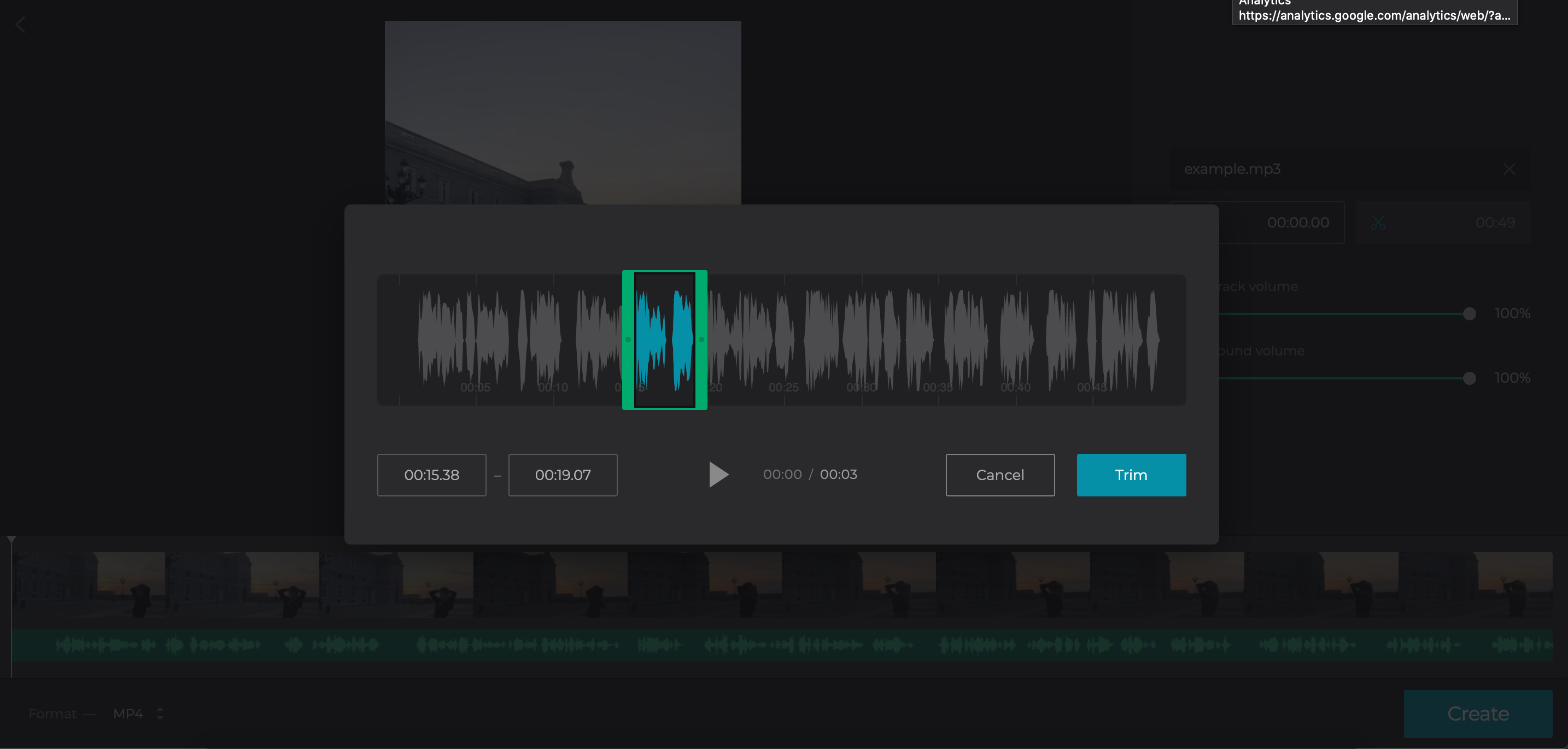 Cut audio to the Triller video length