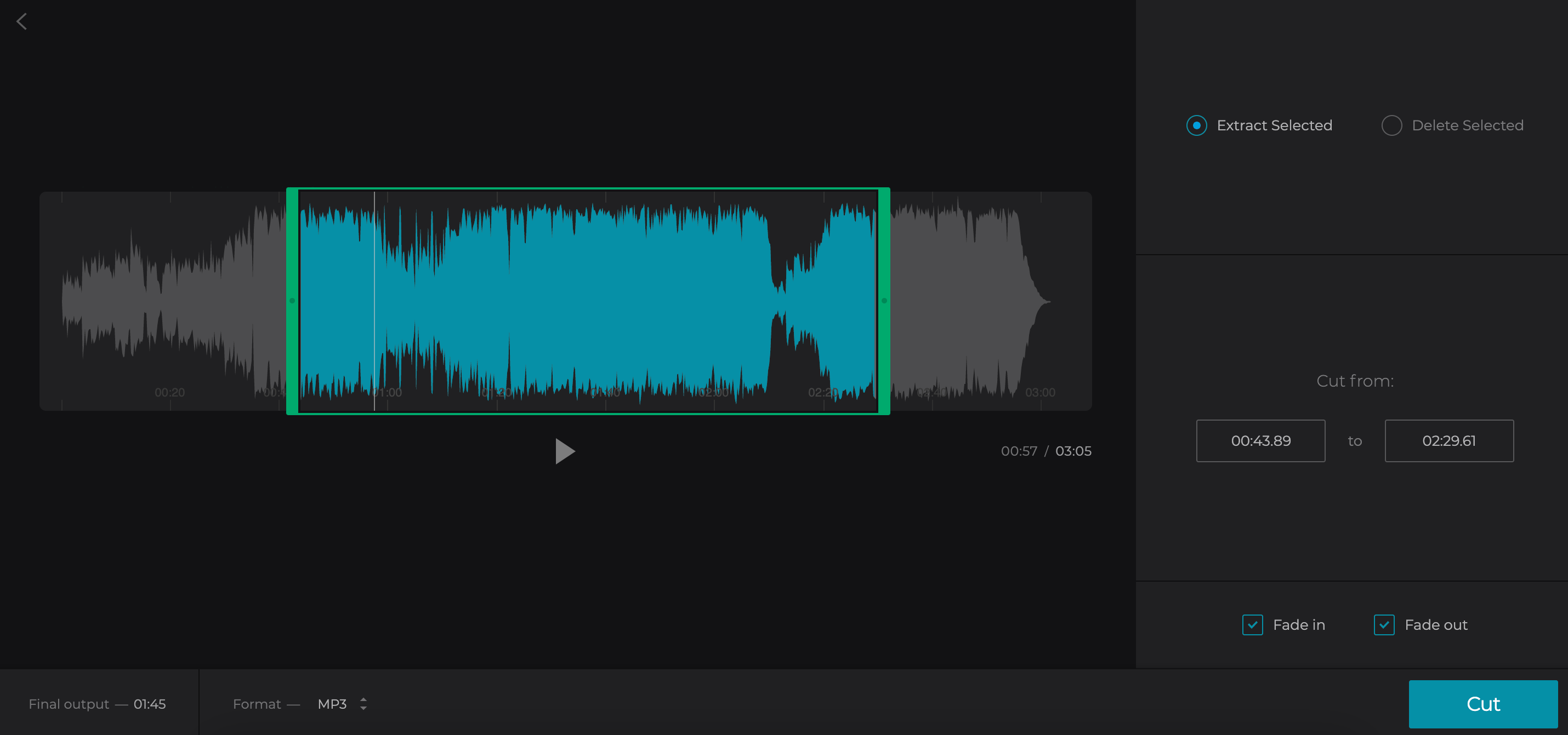 Trim audio extracted from MOV
