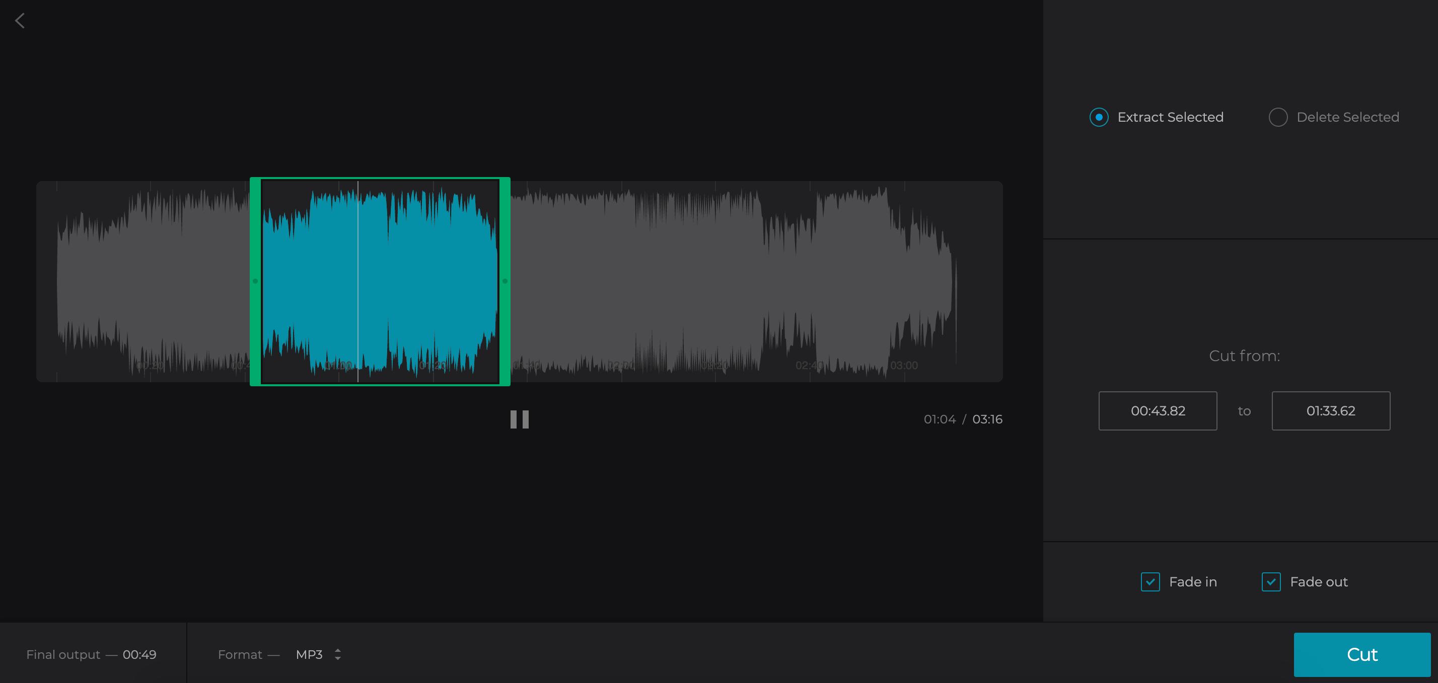 Trim audio in the iPhone ringtone maker