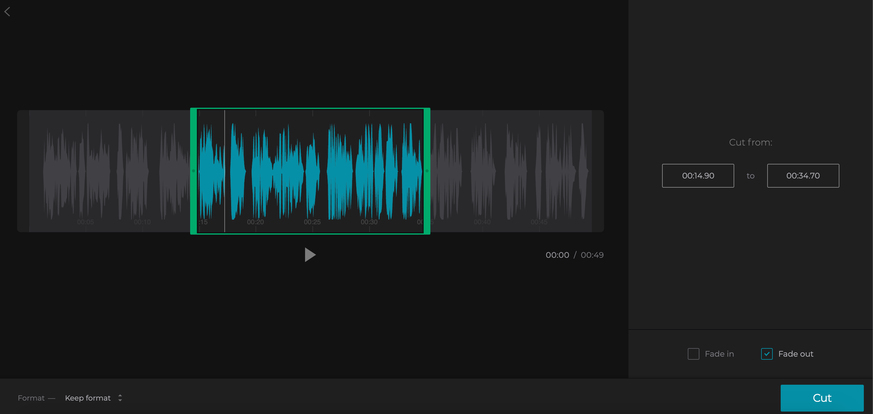 Cut the WAV audio by moving the markers