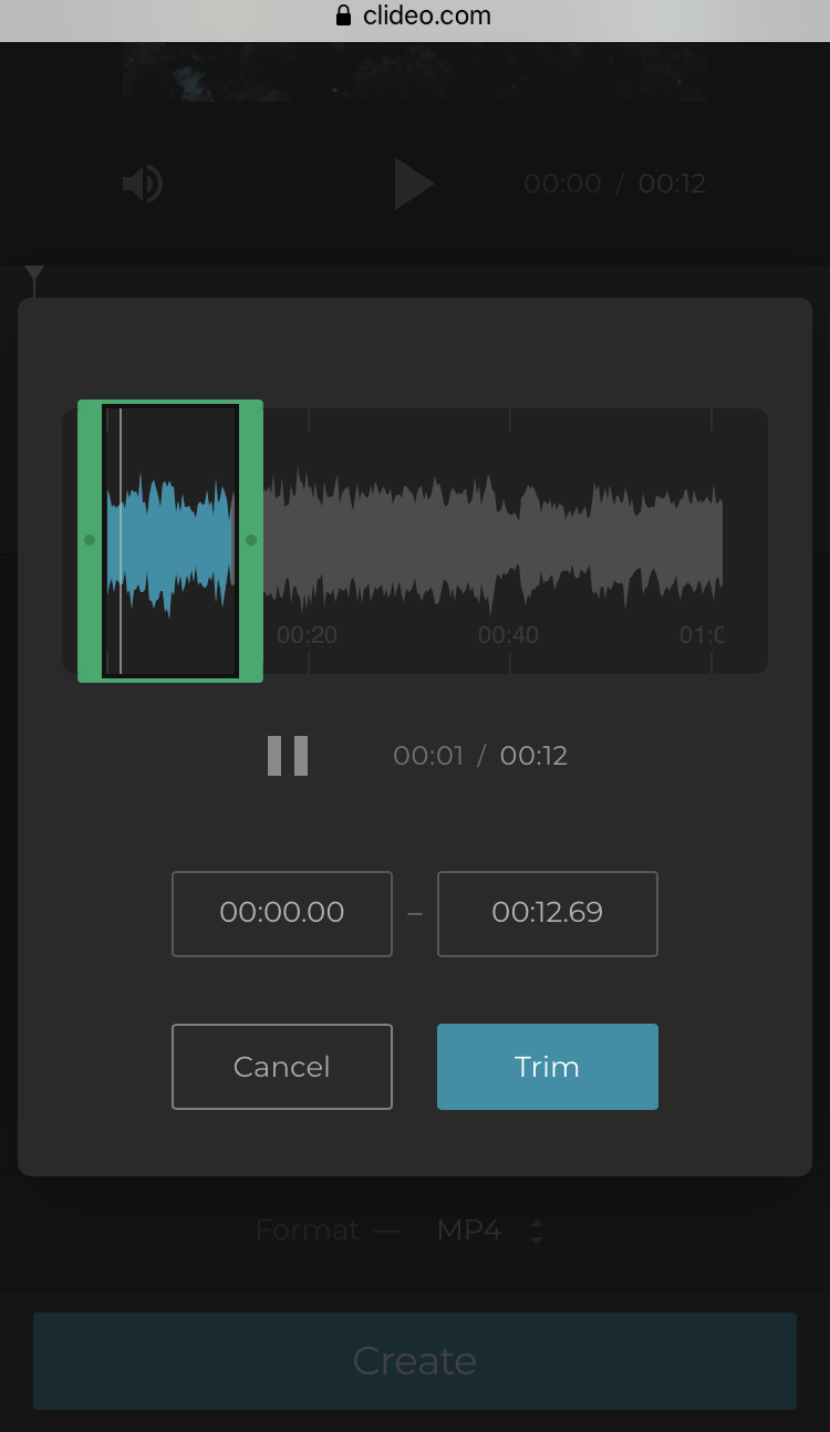 Cut the added audio for iPhone video