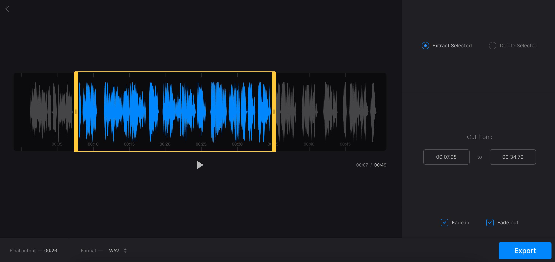 Cut music for ringtone