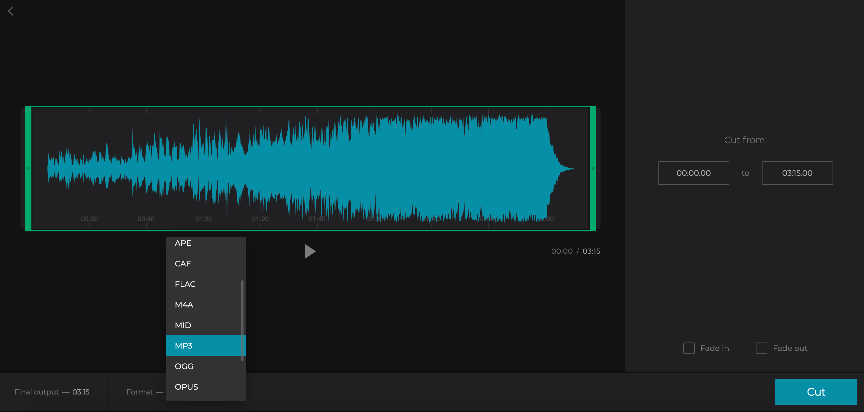Cut the audio if needed and choose MP3 format