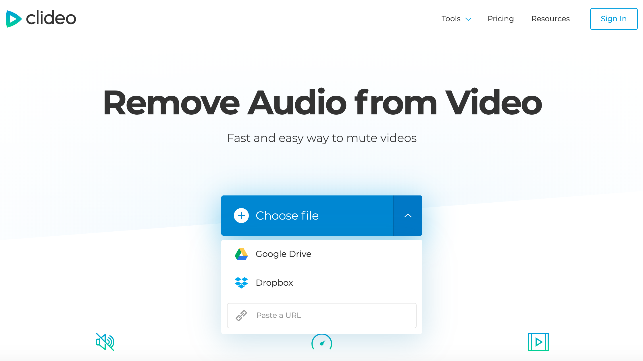 Click the blue button and add a video to delete audio from it
