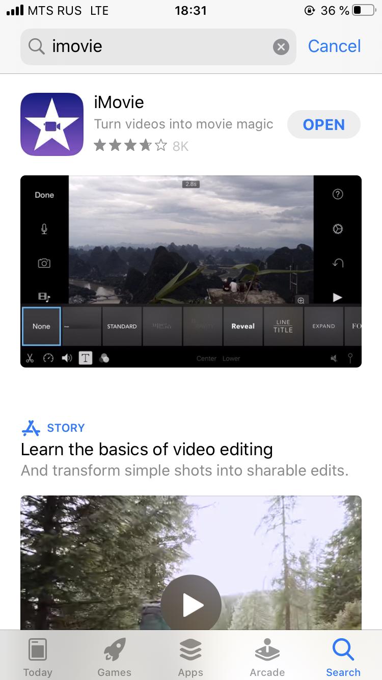 Install iMovie to iPhone via App Store