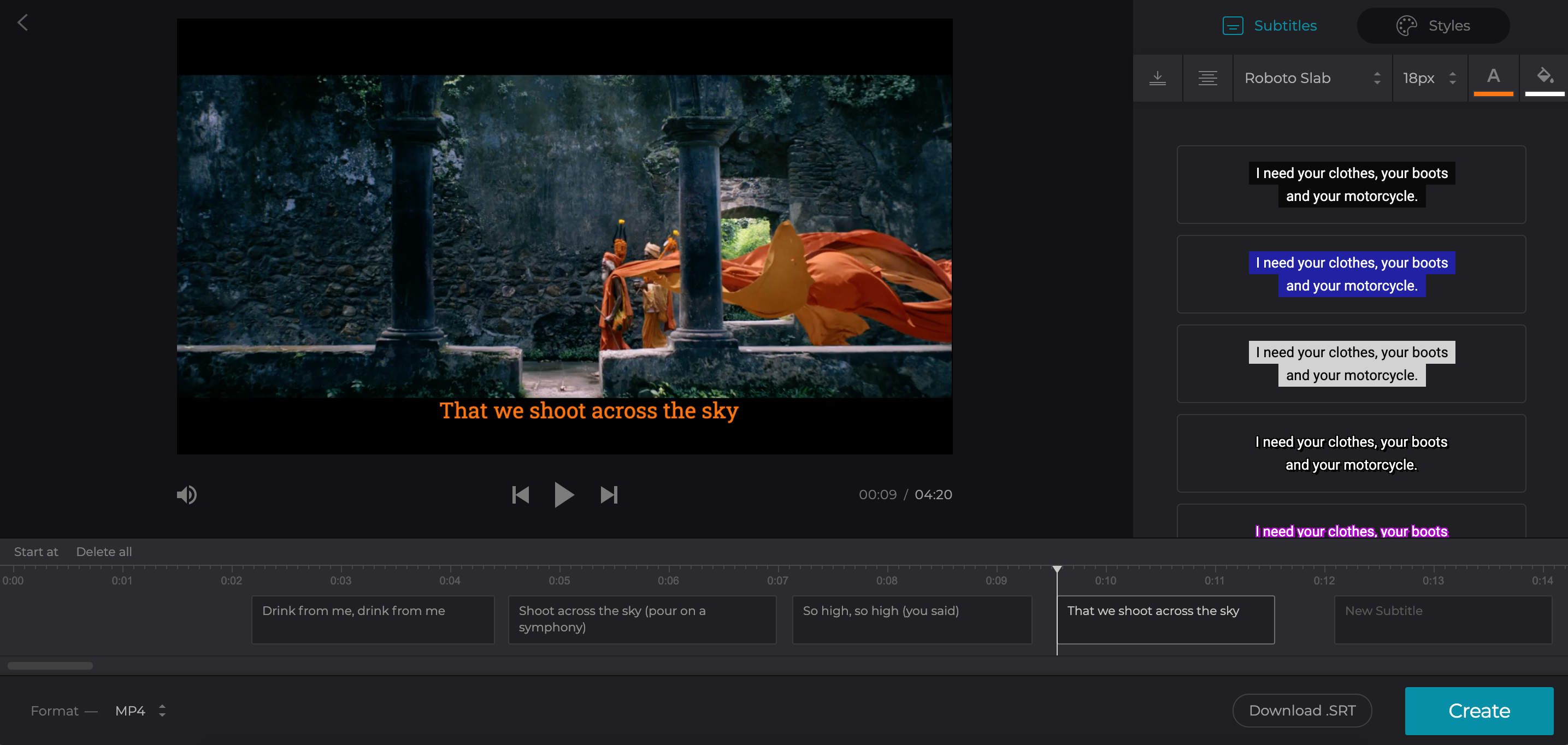 Download SRT file for Vimeo