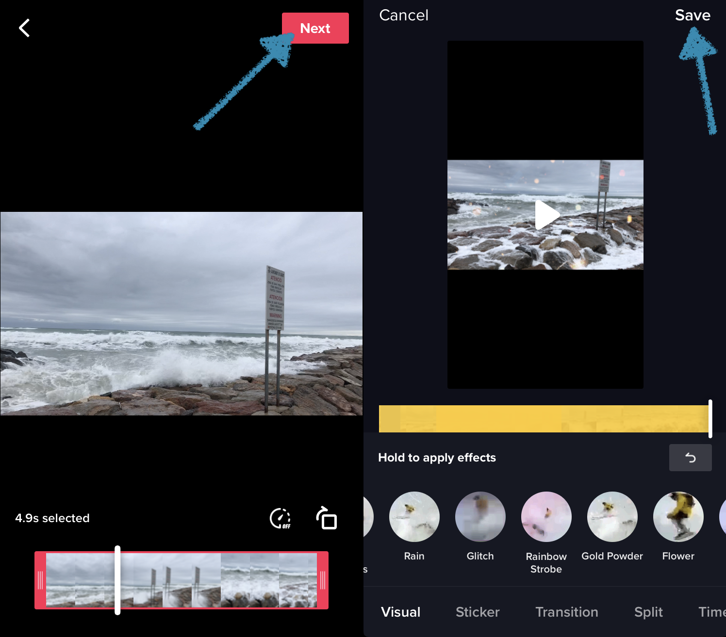 Add filters and effects to the TikTok video