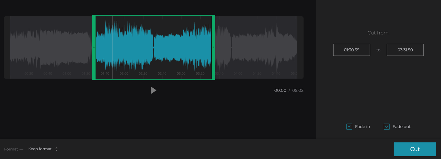 Trim your audio by moving the markers