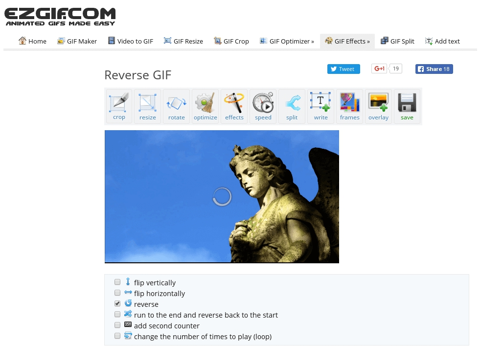 Menu of the Ezgif video reverser app