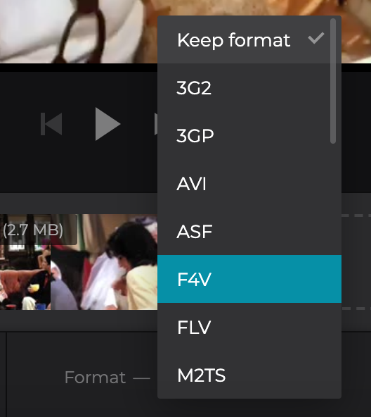 Change the format of the Facebook slideshow before saving