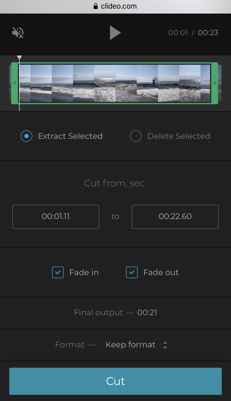 Fade in Vimeo video before saving on iPhone
