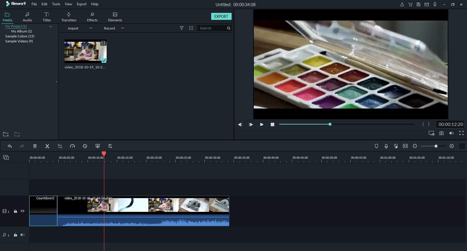 Filmora video combiner interface