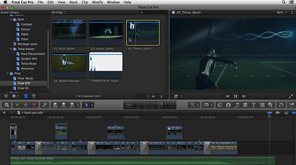Final Cut Pro menu compared to iMovie