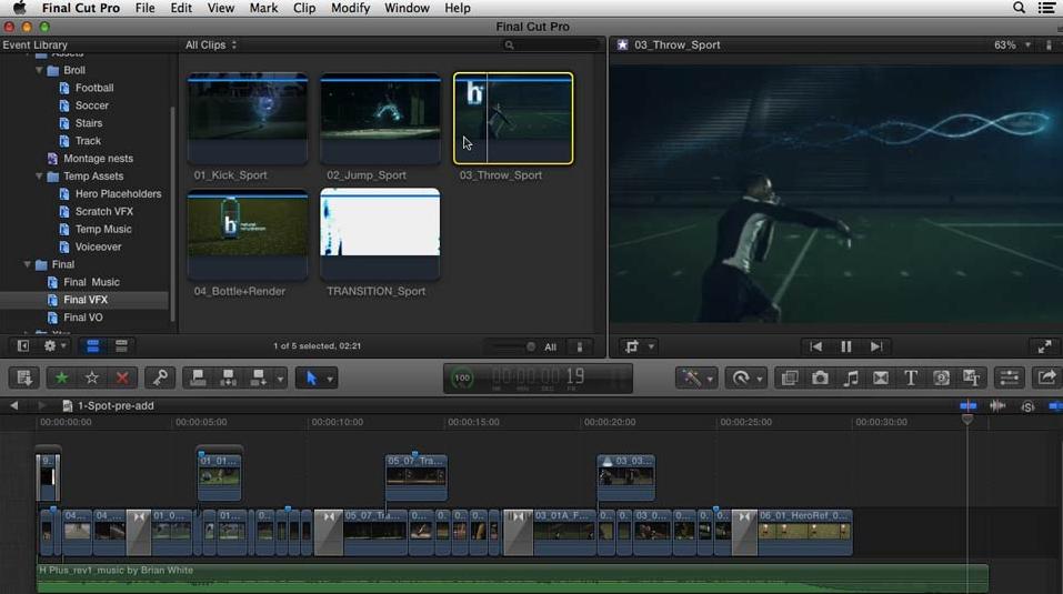 Final Cut Pro menu compared to iMovie