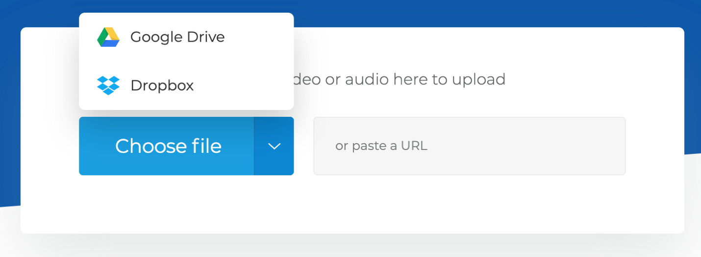 Select an audio from Google Drive or Dropbox account