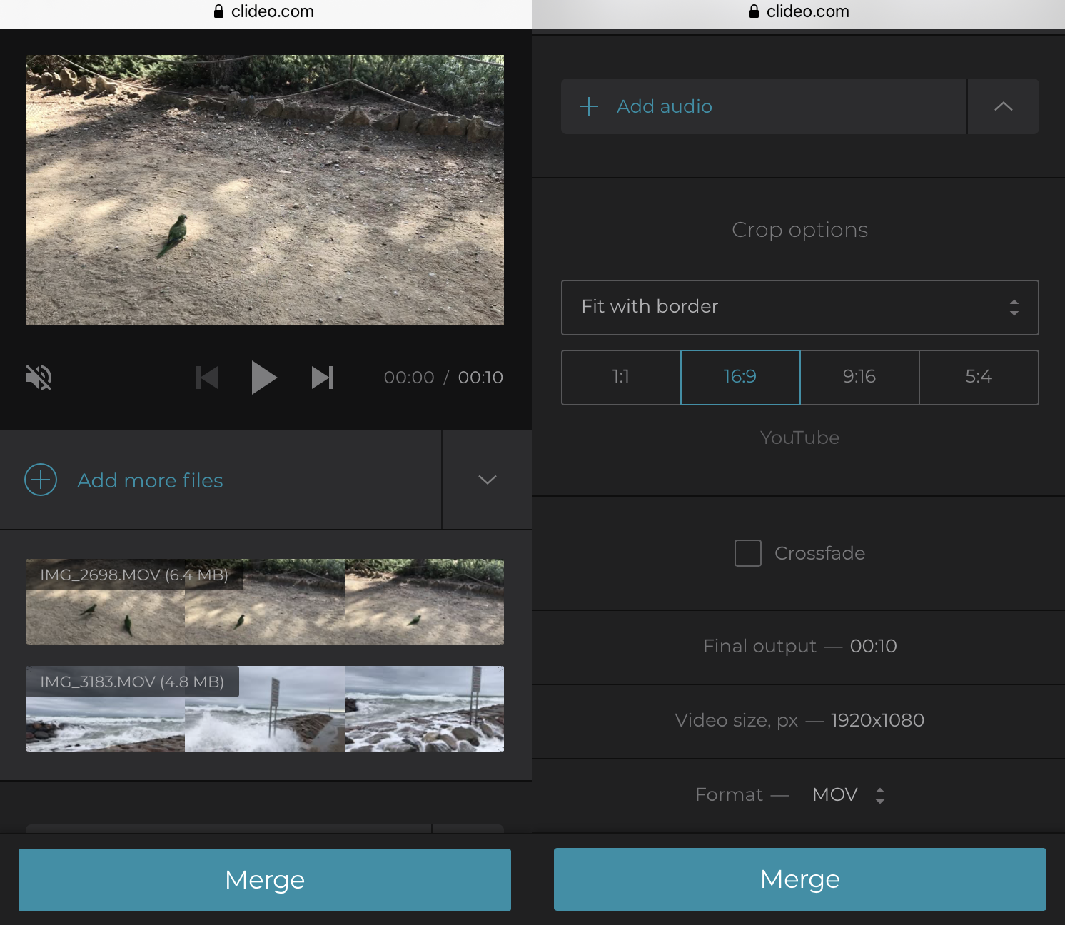 Combine videos on iPhone by rearranging their order